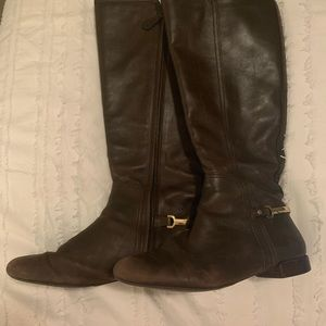 brown tory burch boots gold accents